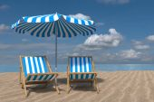 rendering 3D da una scena di spiaggia sono costituiti da due sedie a sdraio, ombrellone e un oceano