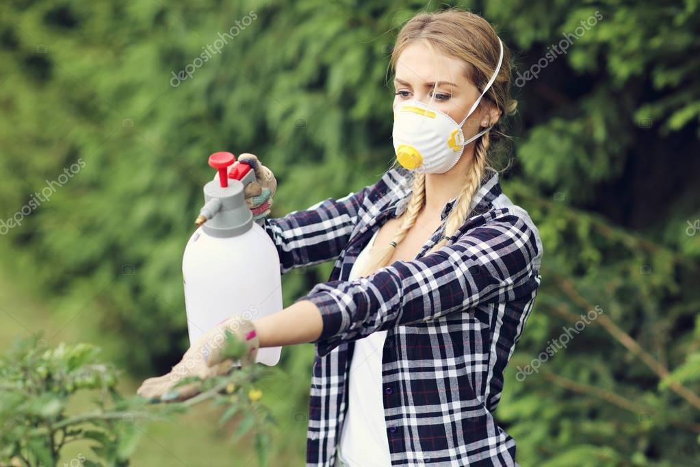 Adult woman spraying plants