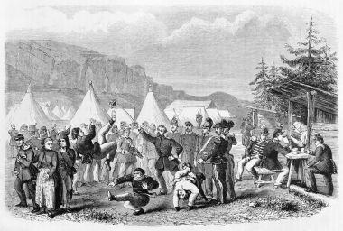 Dancing soldiers in a camp. Vintage illustration
