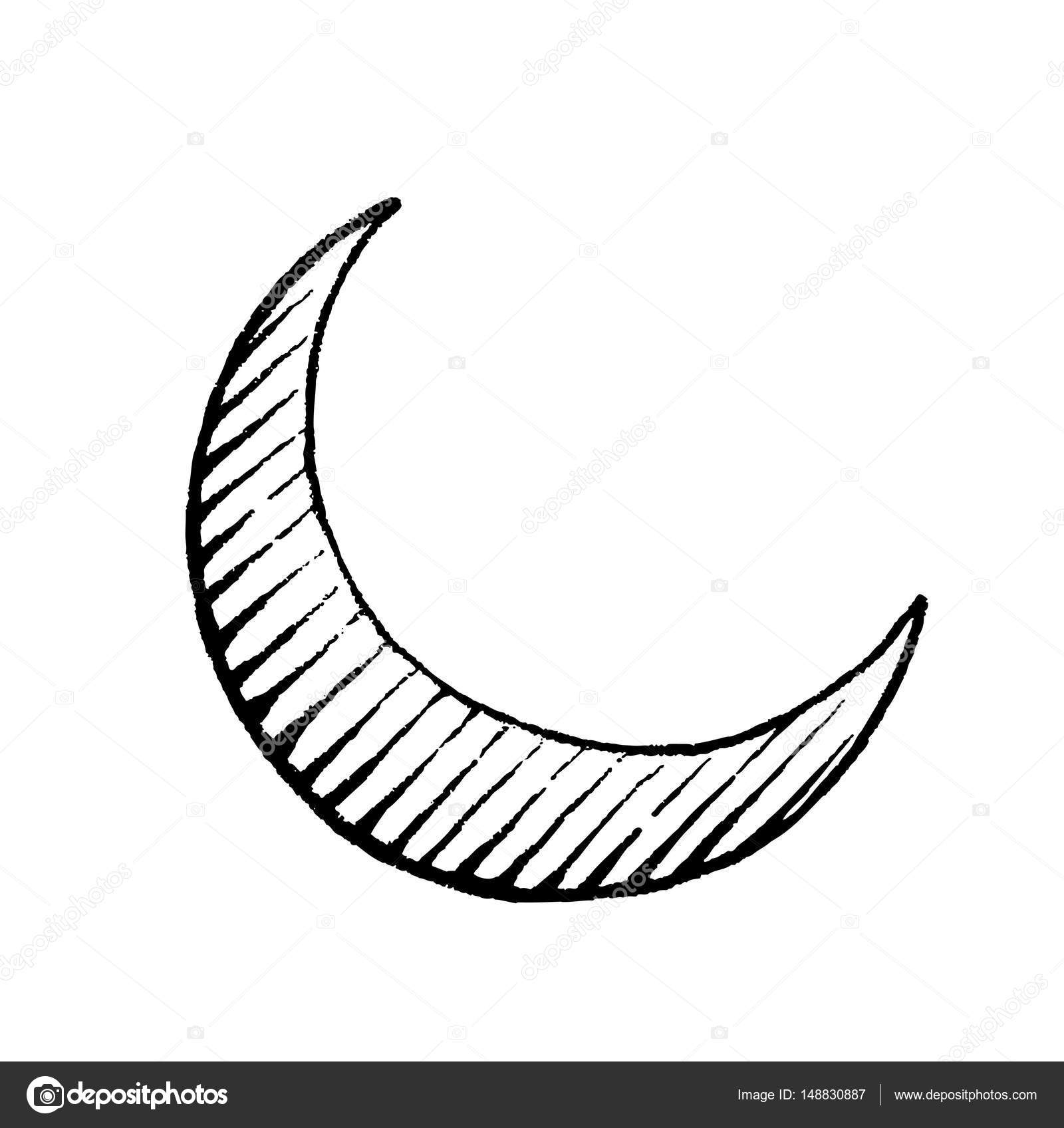 Vector Illustration Of A Scratchboard Style Ink Drawing Moon By Cidepix