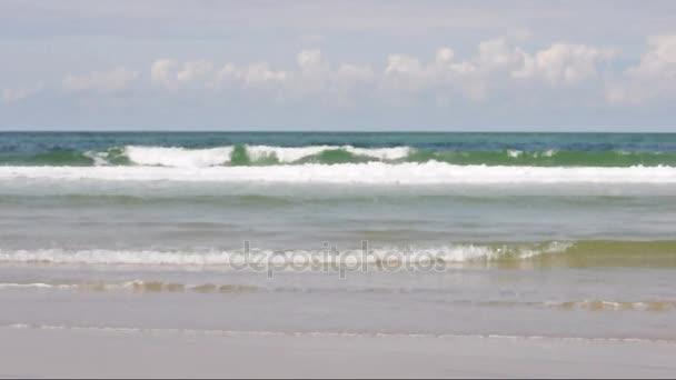 Písečná pláž slunečného dne