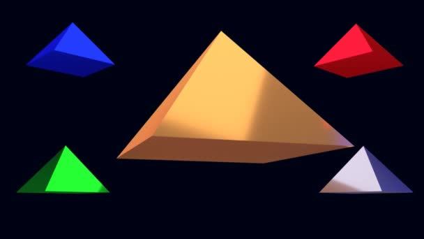 3D rendering of five rotating glossy pyramids with a dark blue background