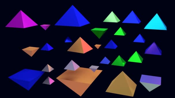 3D rendering of rotating glossy pyramids with a dark blue background