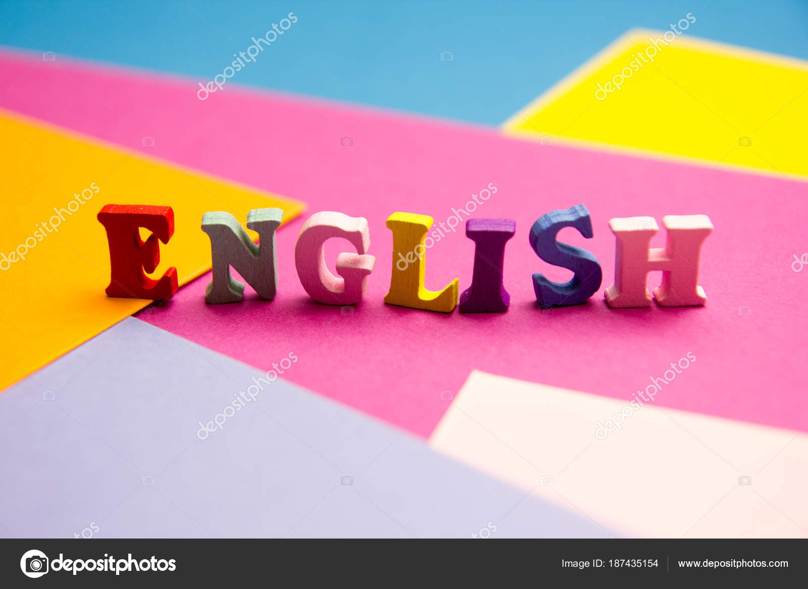 English word composed from colorful abc alphabet block wooden ...