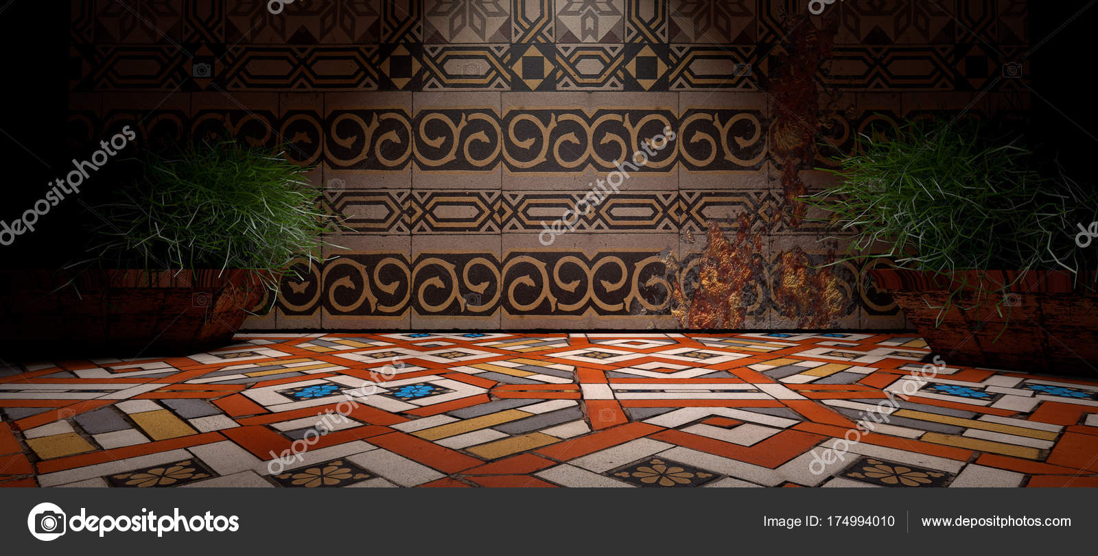 3D-abstracte achtergrond interieur. Vloeren en muren in donkere ...