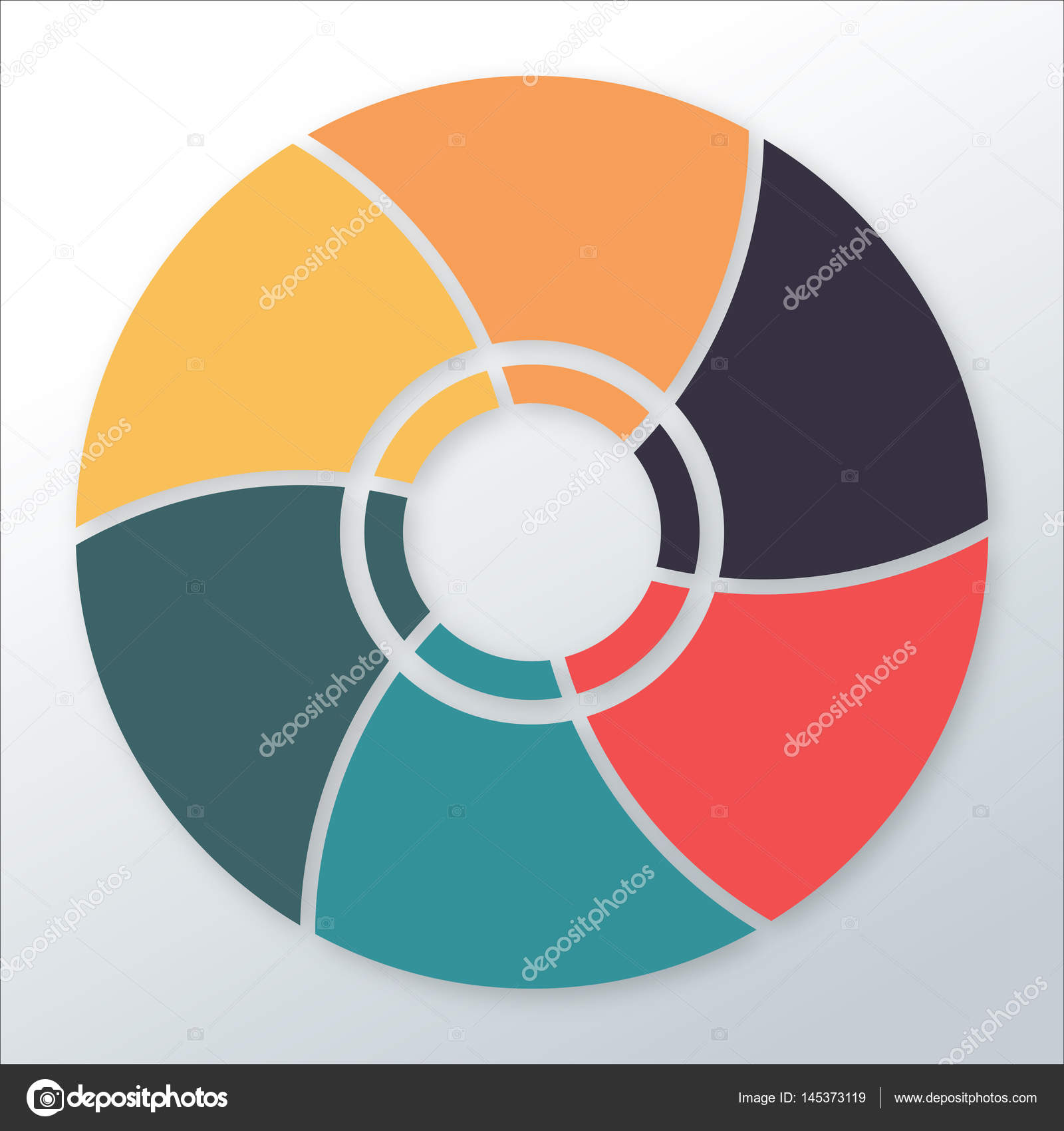 Plantilla de diagrama de infografía con 6 opciones / piezas, gráfico ...
