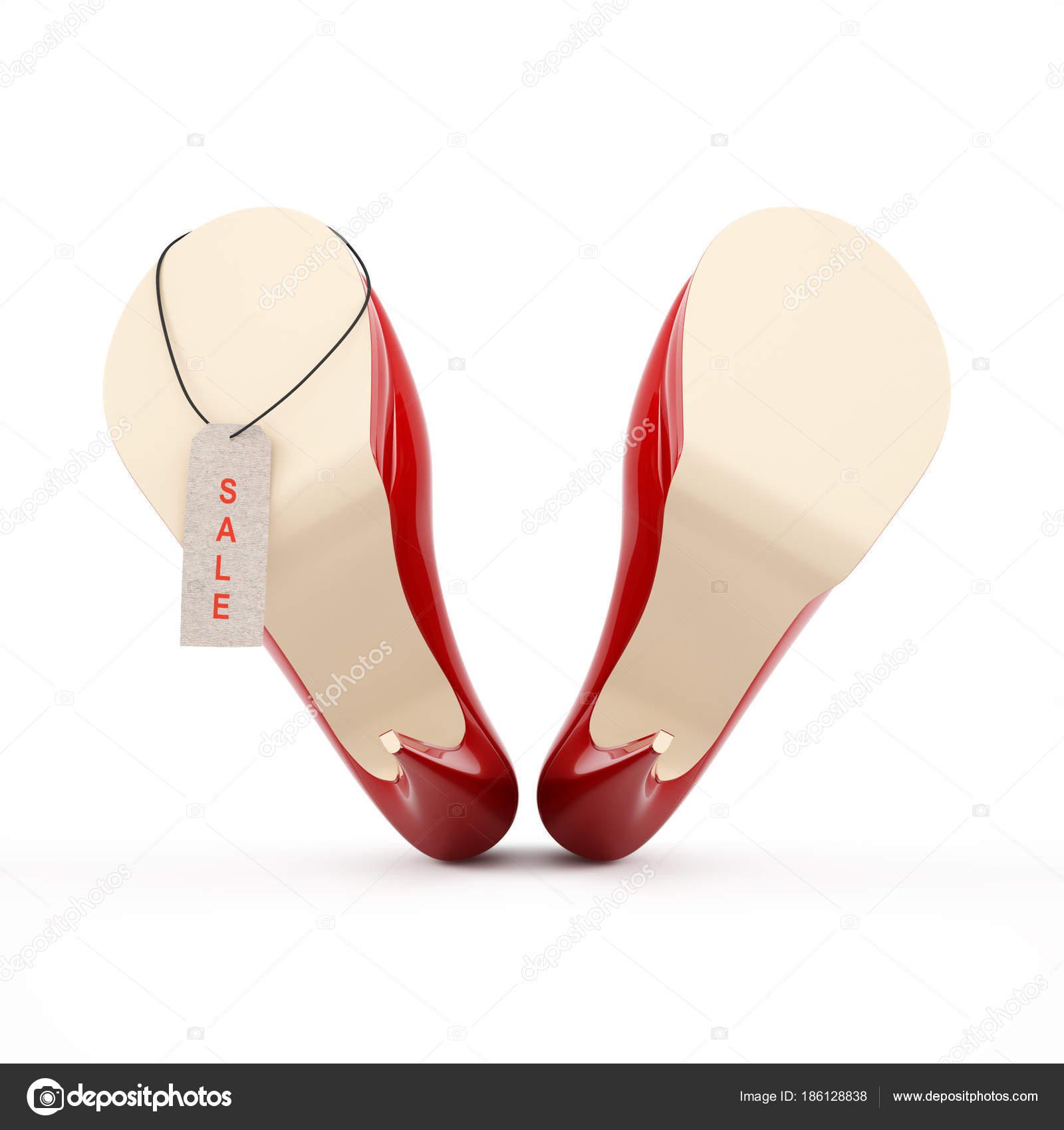 efedbf4ed55f7f Жіноча червоні туфлі на високих підборах зображення високої якості  3d-рендерінг. Червоний продаж тег– стокове зображення