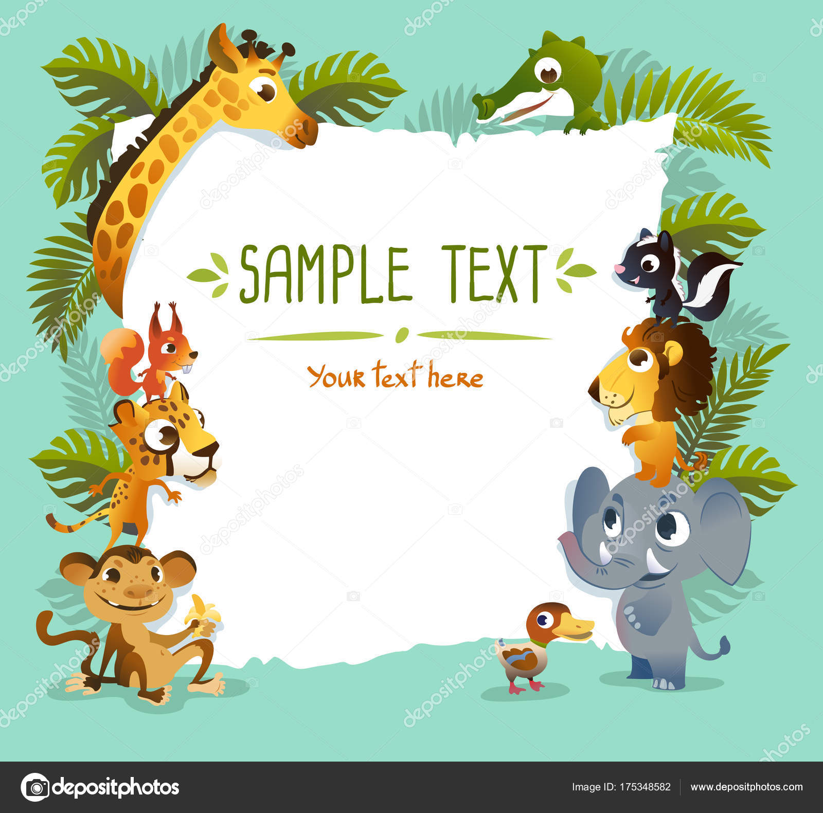 template poster with zoo animals stock photo caramelina 175348582