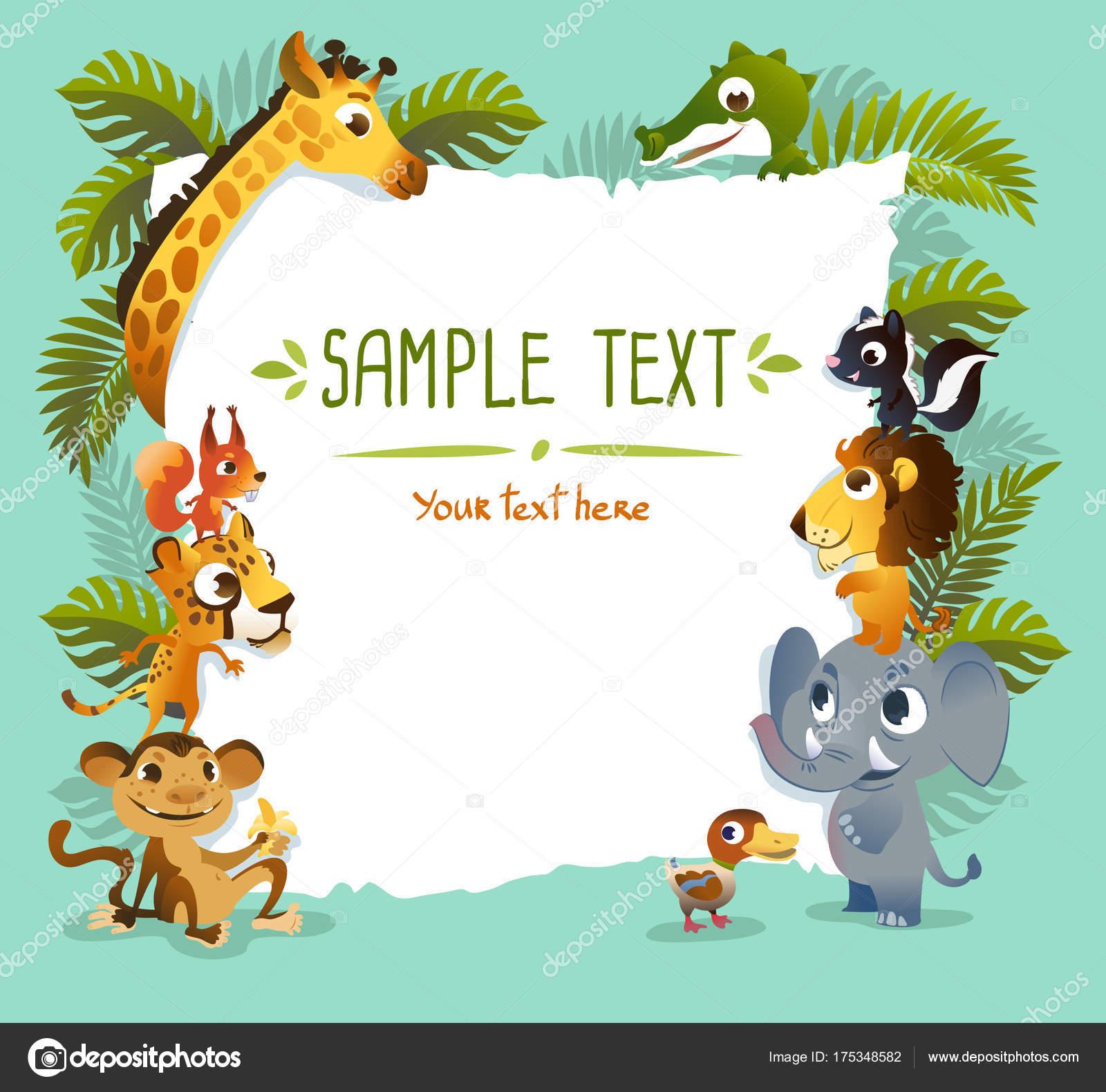 動物園の動物とテンプレート ポスター ストック写真 caramelina
