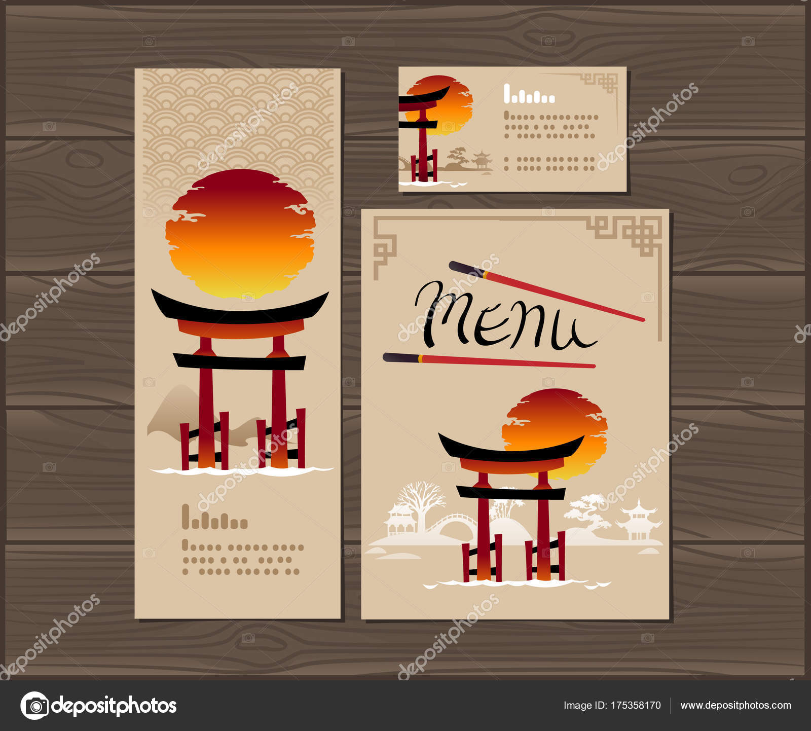 template cover japanese food menu flyer vector illustration — stock