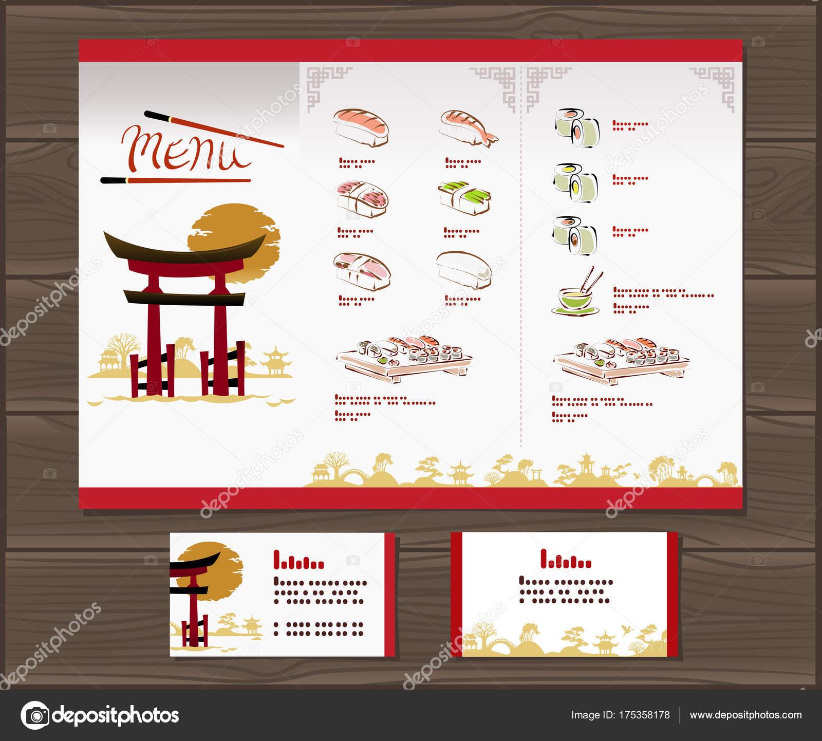 Menú Comida Japonesa Plantilla Ilustración Vector — Fotos de Stock ...