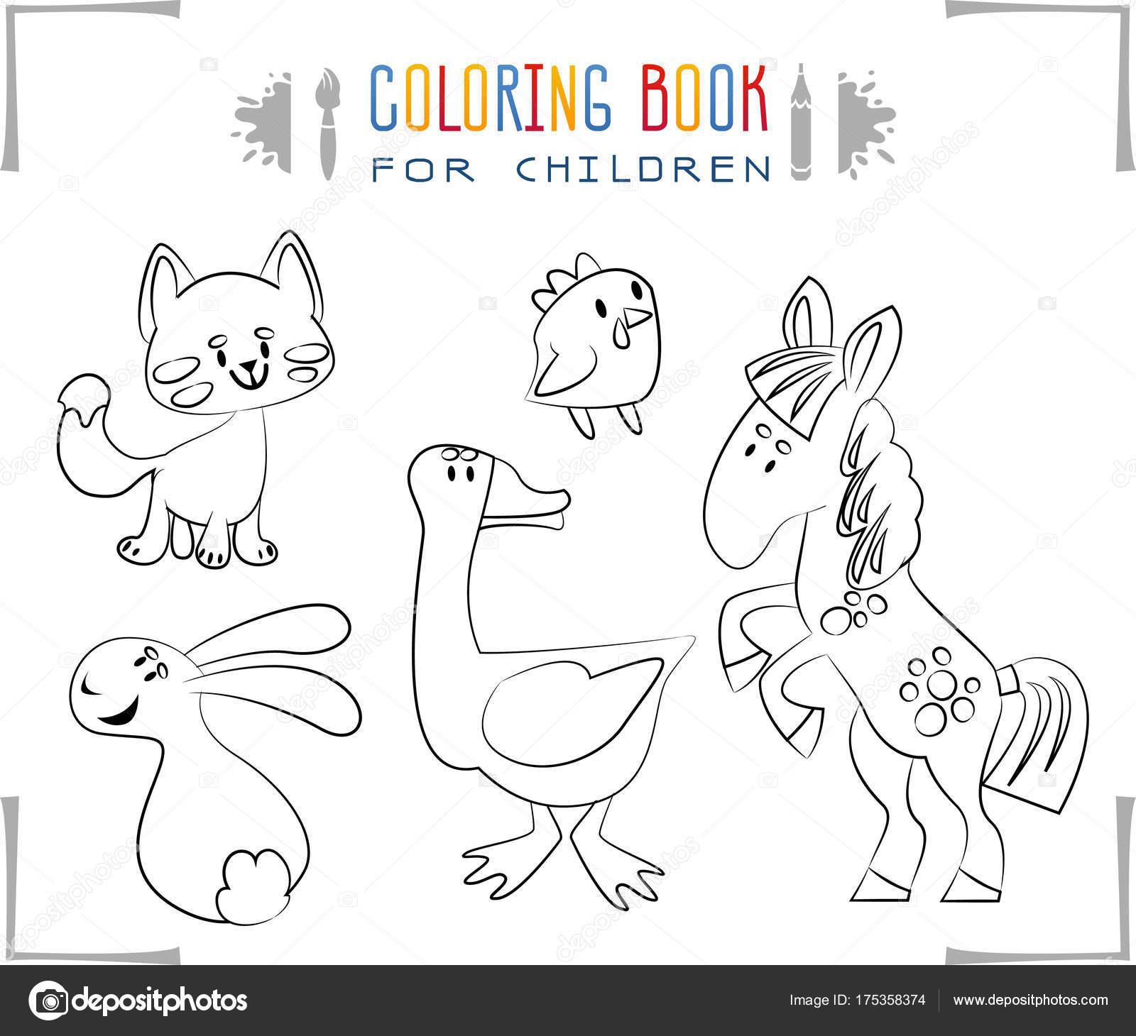 Libro Para Colorear Con Animales Granja Dibujos Animados Ilustración ...