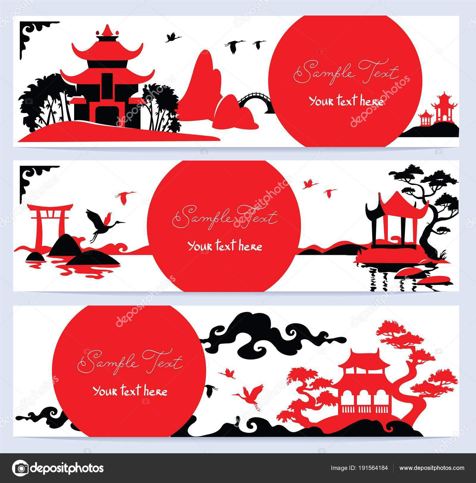 Set Horizontal Banners Asian Landscape Stock Photo