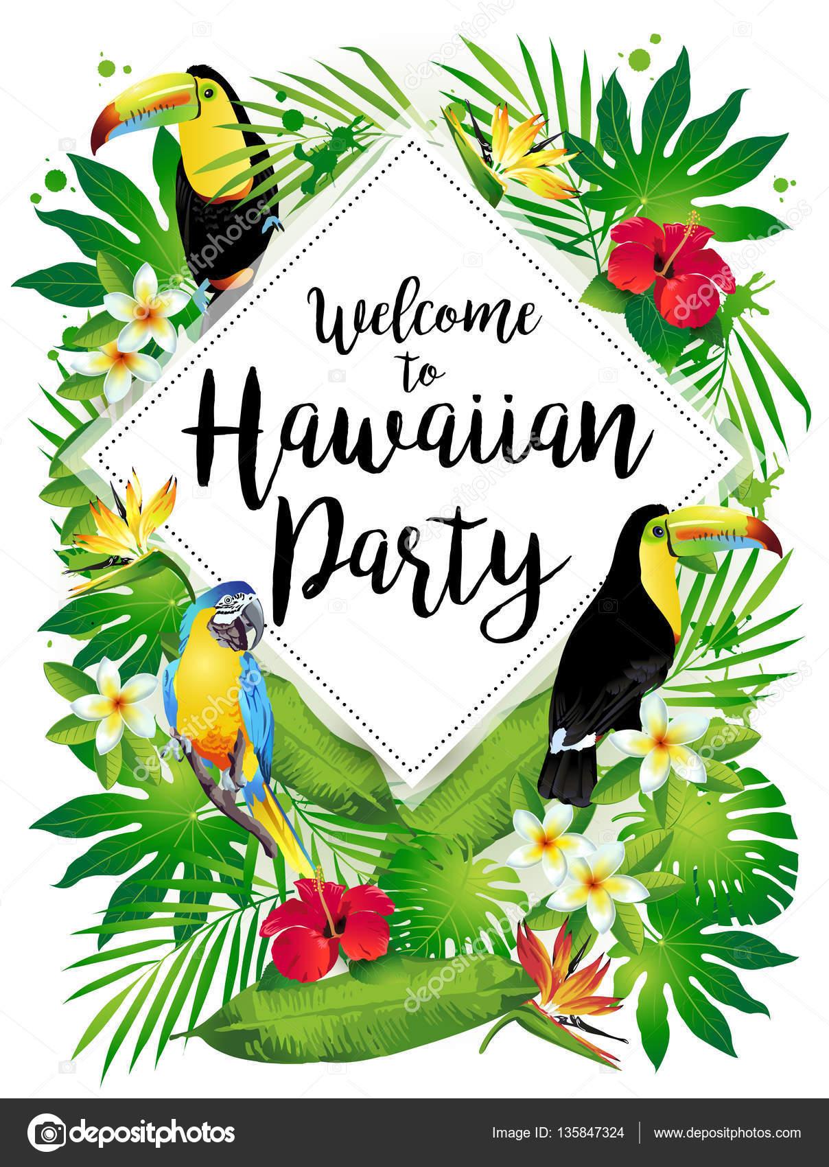 Fotos Hojas Hawaianas Bienvenido A Fiesta Hawaiana Ilustracion