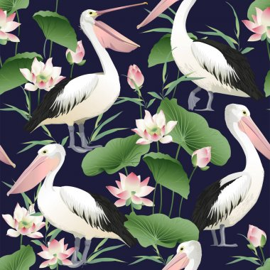 Vector seamless pattern with graceful pelicans. Beautiful design elements, perfect for prints and patterns.