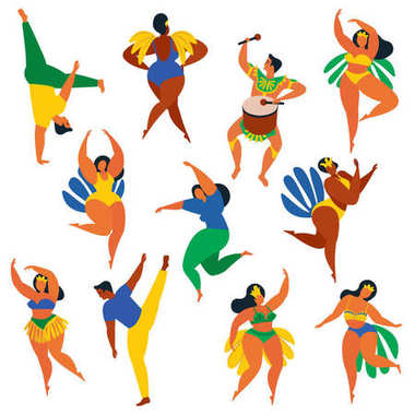 Vector illustration in retro flat style carnival girls, women and men young people. Healthy lifestyle. Set of Brazilian samba dancers, capoeira, drummer. Design element in bright colors with textures.