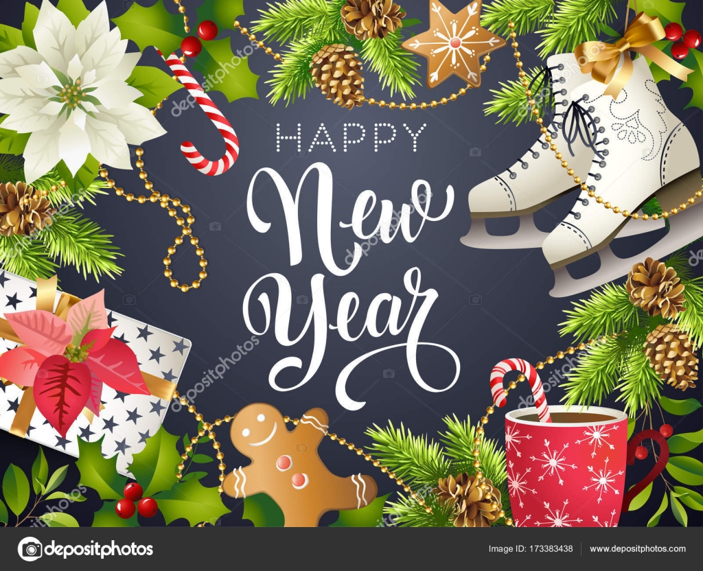 happy new year theme vector illustration of xmas party 2018 gold and black collors place