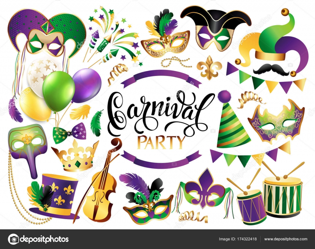Royal french lily symbols stock vectors royalty free royal french mardi gras french traditional symbols collection carnival masks party decorations vector illustration isolated biocorpaavc Gallery