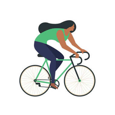 Cool vector character design on adult young man and woman riding bicycles. Stylish male and female hipsters bicycle, side view, isolated.