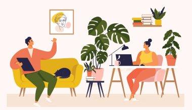 Masada çalışan kadın ve erkek ve evden gelen kanepe. Çiftin çok işi var. Çalışma masasında dizüstü bilgisayarla çalışan bir kadın, Ui ve Ax 'i test ediyor. Öğrencilerin evde öğrenim görselleştirmesi.