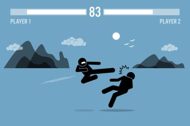 Stick figure fighter characters fighting in a game.
