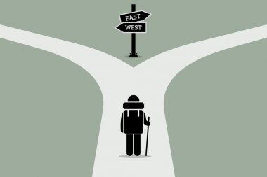 Explorer reaching a split road trying to make decision on where to go next. Road sign showing different directions.