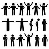 Fotografie Verschiedene Körper Gesten Handsignale Mensch Menschen Stick Figur Stickman Piktogramm Icons