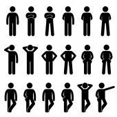 Fotografie Verschiedene grundlegende Standing Human Man People Körpersprachen Posierte Stick Figur Stickman Piktogramm Icons Set