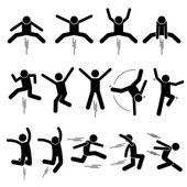 Fotografie Verschiedene Jumper Menschlichen Mann Menschen springen Stick Figur Stickman Piktogramm Icons