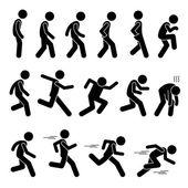 Verschiedene menschliche Menschen Menschen laufen Läufer Posen Haltungen Wege Stick Figur Stickman Piktogramm Icons