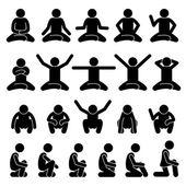 Fotografie Menschliche Menschen Menschen sitzen und Squatting auf dem Boden Posen Haltungen Stick Figur Stickman Piktogramm Icons
