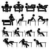Fotografie Sitzen auf Sofa Couch Arbeitsstuhl Lounge Tisch Posen Haltungen Menschlichen Mann Menschen Stick Figur Stickman Piktogramm Icons