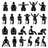 Sitzen auf Stuhl Posen Haltungen Menschen Menschen Stick Figur Stickman Piktogramm Icons