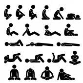 Fotografie Verschiedene Squatting sitzen liegend auf dem Boden Haltungen Positionen Menschliche Menschen Menschen Stick Figur Stickman Piktogramm Icons
