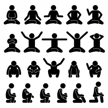 Human Man People Sitting and Squatting on the Floor Poses Postures Stick Figure Stickman Pictogram Icons