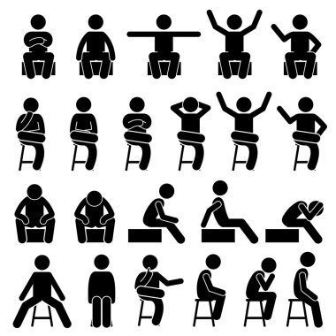 Stickman person posing in various sitting on a chair postures. stock vector