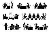 Üzletember-találkozó, konferencia és beszélgetés.