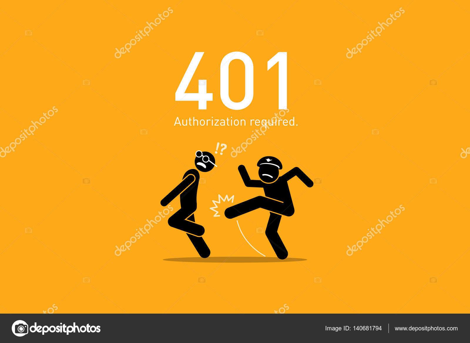 Website Error 401. Authorization Required. \u2014 Stock Vector © leremy