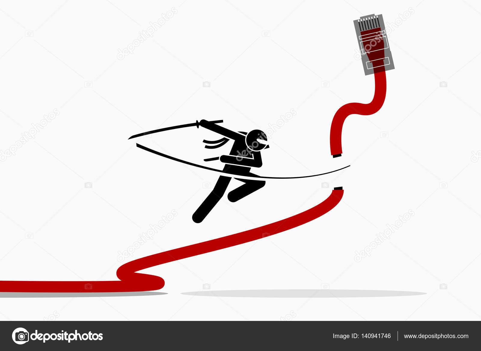 Schema Cablaggio Rete Lan : Ninja taglia cavo di rete ethernet lan u2014 vettoriali stock © leremy