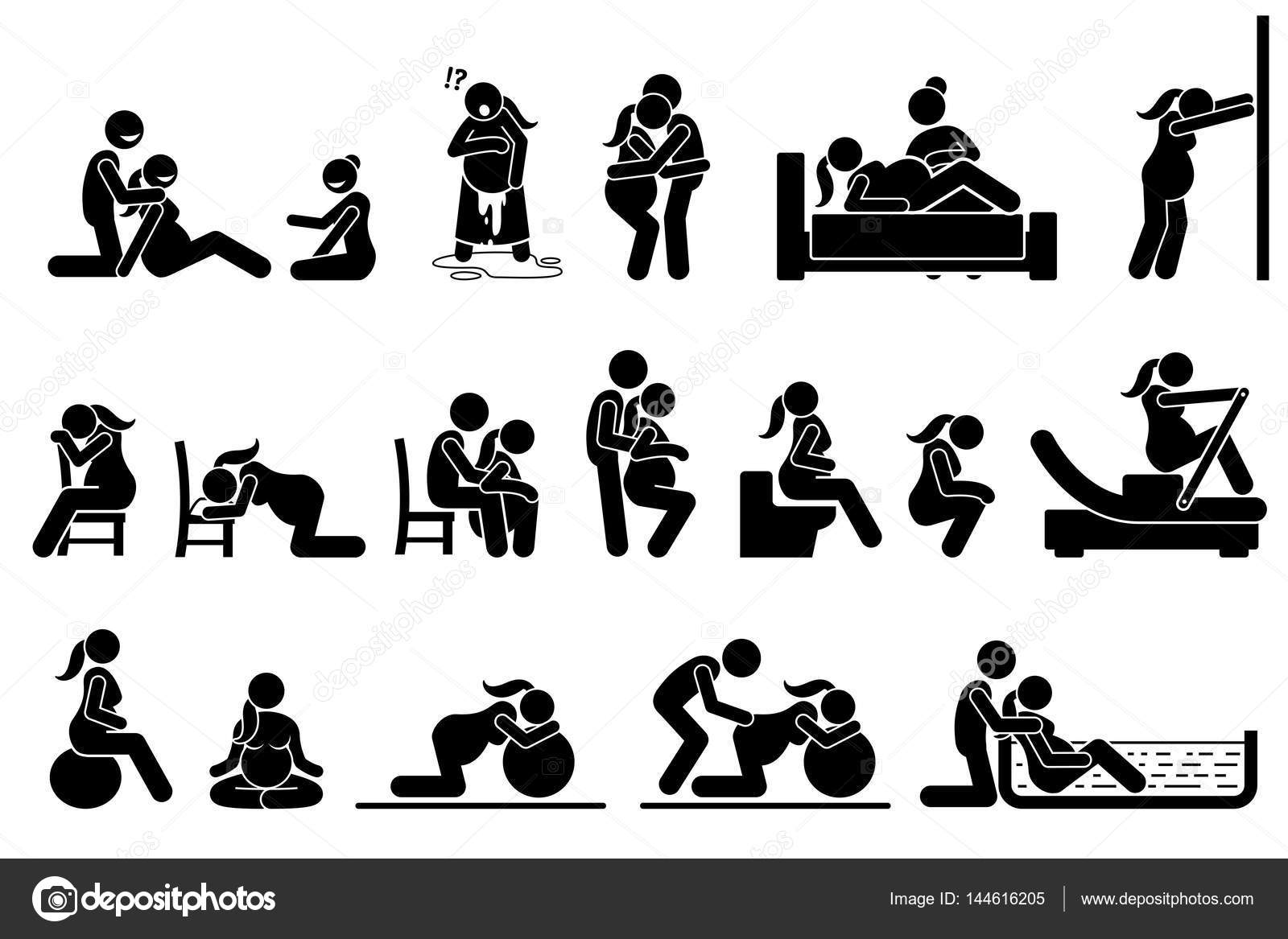 Childbirth labor positions and postures at home. — Stock ...