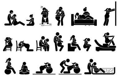Childbirth labor positions and postures at home.