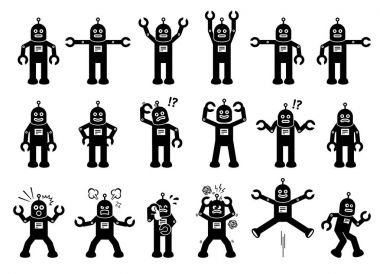 Robot Cartoon Characters in Various Poses, Actions, and Emotions.