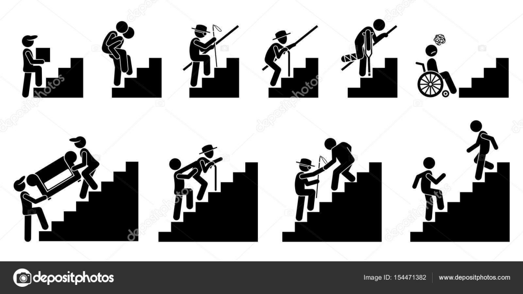 People Going Up On Staircase Or Stairs Stock Vector