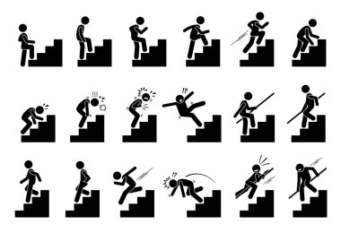 Man climbing Staircase or Stairs Pictogram.