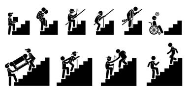 People going up on Staircase or Stairs.
