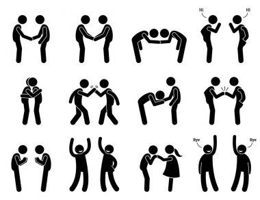 People Meeting and Greeting Gestures Etiquette.