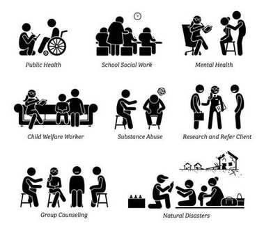Social Workers Stick Figure Pictogram Icons.