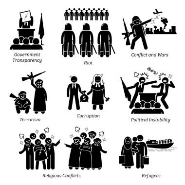 Social Issues World Problems Pictogram Icons.