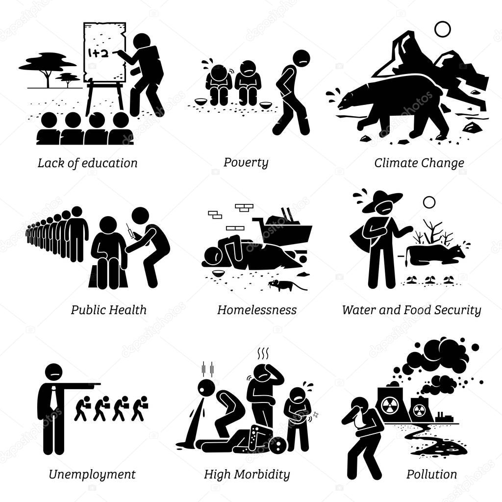 Social Issues and Critical Problems Pictogram Icons.