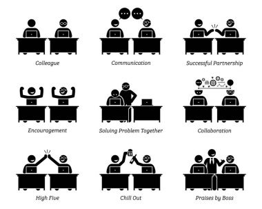 Colleague and business partners working together efficiently in workplace office. The business team has good communication, successful partnership, collaboration, problem solving, and celebration.